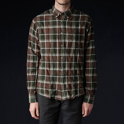 Japanese Check Button Down in Olive