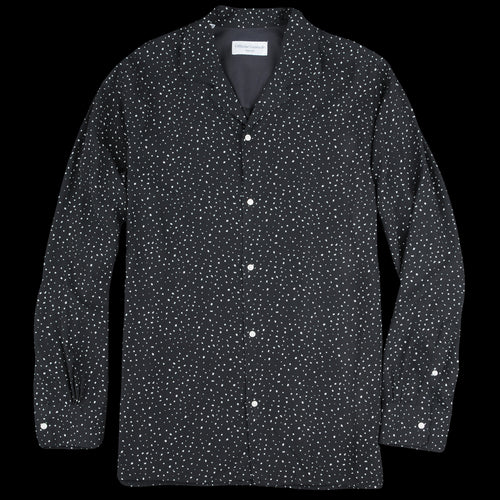 Italian Cotton Tencel Dot Piping Dario Shirt in Black & White