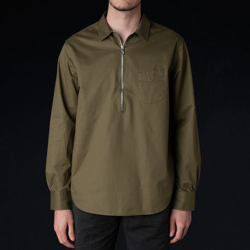 Light Poplin Paul Zip Overshirt in Olive