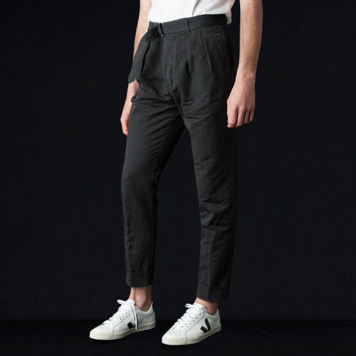 Garment Dye Italian Cotton Linen Pierre Pant in Graphite