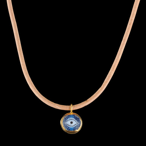 Nepalese Eye Glass Leather Necklace in Blue & Gold Plate