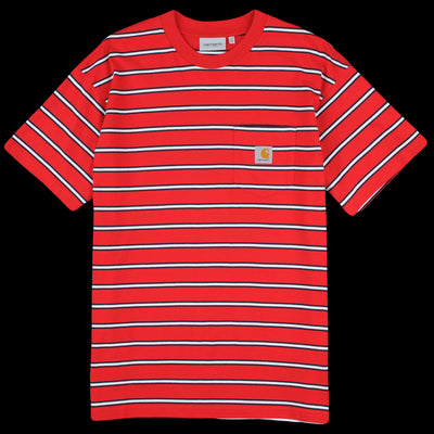 Carhartt WIP - Houston Stripe Pocket Tee in Cardinal