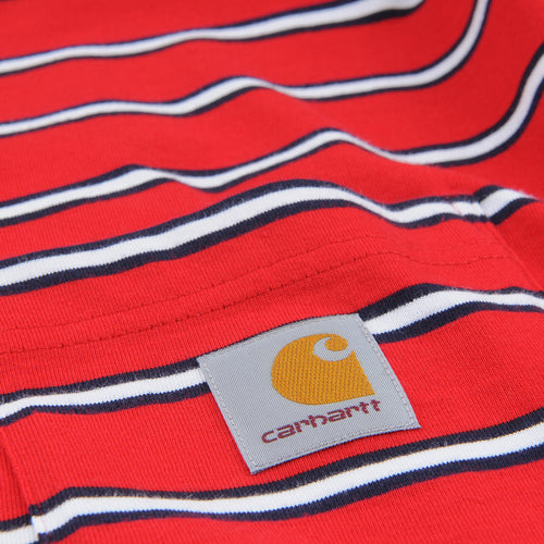Houston Stripe Pocket Tee in Cardinal