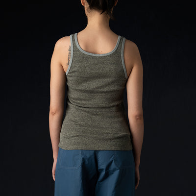 W'menswear - Ribbed Combat Tank in Grey