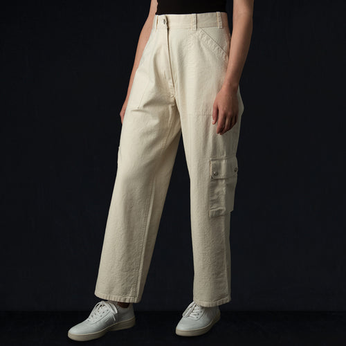 Tropical Combat Pant in Off White