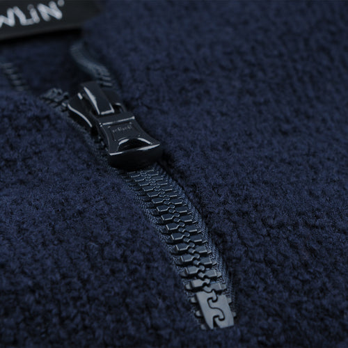 Night Moves Bouclé Half-Zip Sweater in Navy