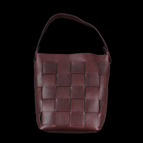 Woven Bucket Shoulder Bag in Cordovan