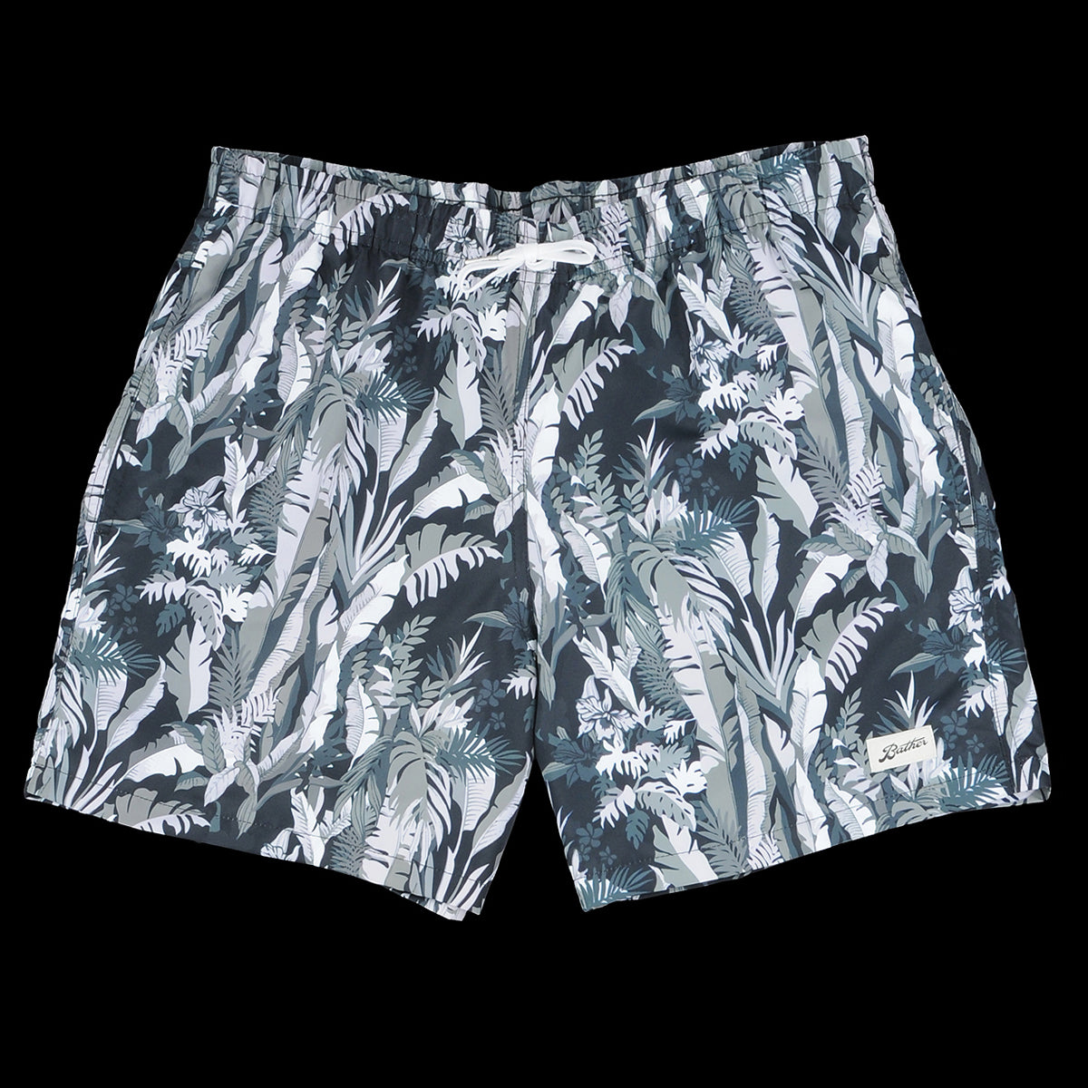 d7bfe7f7a4 Bather - Tropical Forest Swim Trunk in Green & Black - UNIONMADE
