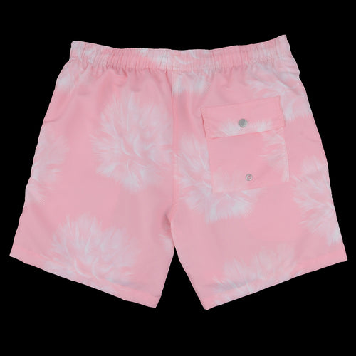 Birds Eye Palms Swim Trunk in Pink & White