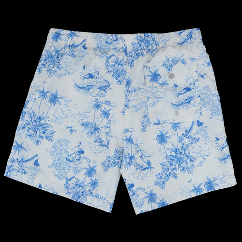 Toile Swim Trunk in White & Blue
