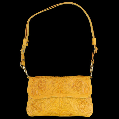 Hand Tooled Clutch in Floral Yellow