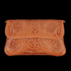 Chamula - Hand Tooled Clutch in Floral Tan