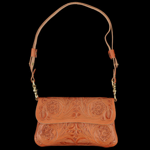 Hand Tooled Clutch in Floral Tan