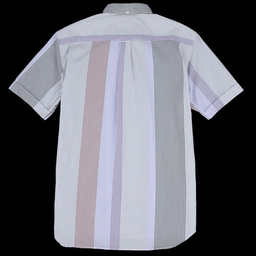 Wide Pitch London Stripe Short Sleeve Pullover B.D. Shirt in Grey Multi