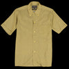 Beams+ - Geometric Print Short Sleeve Open Collar B.D. Shirt in Mustard