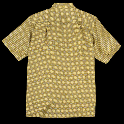Geometric Print Short Sleeve Open Collar B.D. Shirt in Mustard