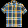 Beams+ - Big Check Linen Short Sleeve Italian Collar Shirt in Mustard