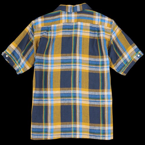 Big Check Linen Short Sleeve Italian Collar Shirt in Mustard