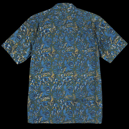 Batik Print Short Sleeve Open Collar Shirt in Blue