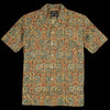 Beams+ - Batik Print Short Sleeve Open Collar Shirt in Mustard
