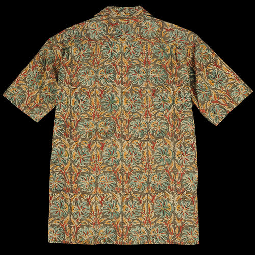 Batik Print Short Sleeve Open Collar Shirt in Mustard