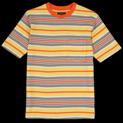 Beams+ - Multi Border Pocket Tee in Orange Grey & Yellow