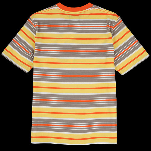 Multi Border Pocket Tee in Orange Grey & Yellow