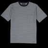 Beams+ - Narrow Border Pocket Tee in Grey & Black