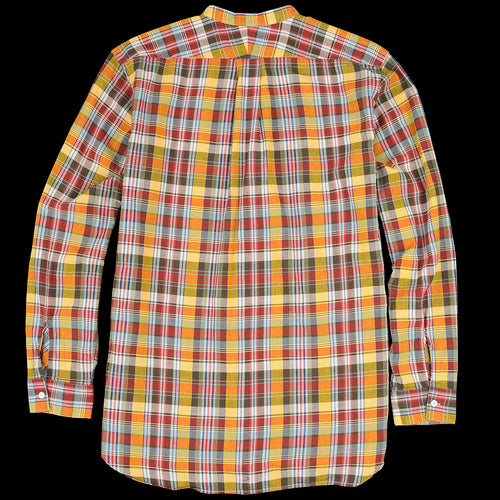 Indian Madras Band Collar Pullover Shirt in Yellow
