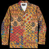 Beams+ - Batik Patchwork-Like Print Camp Collar Shirt Jacket in Yellow