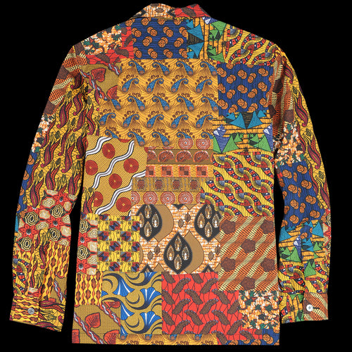 Batik Patchwork-Like Print Camp Collar Shirt Jacket in Yellow