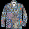Beams+ - Batik Patchwork-Like Print Camp Collar Shirt Jacket in Navy