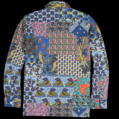 Batik Patchwork-Like Print Camp Collar Shirt Jacket in Navy