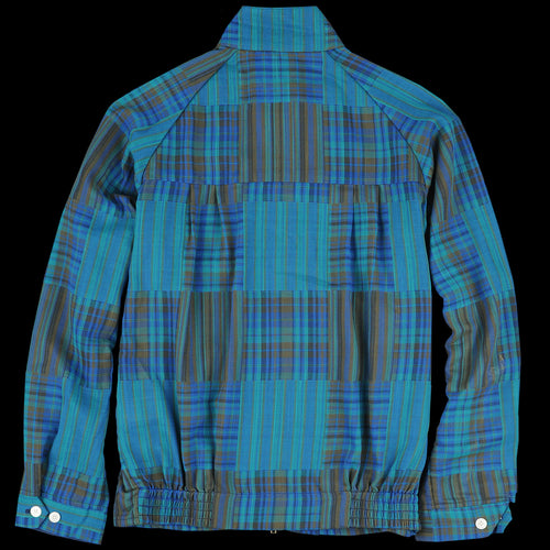 Patchwork-Like Check Harrington Jacket in Green