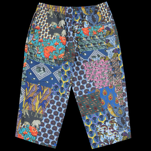 Batik Patchwork-Like Print Wide 8/10 Pant in Navy