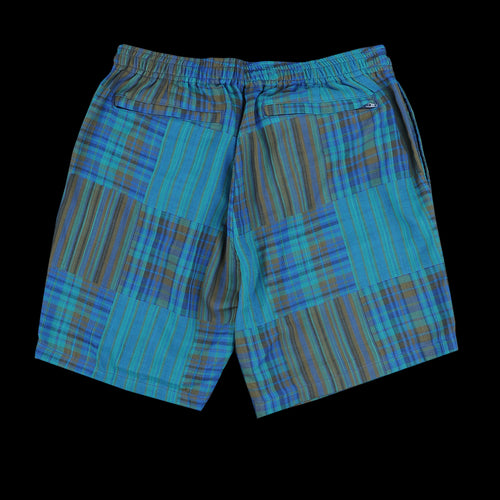 Patchwork-Like Check Beach Short in Green