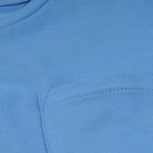 Crew Neck Tee with Pocket in Sky