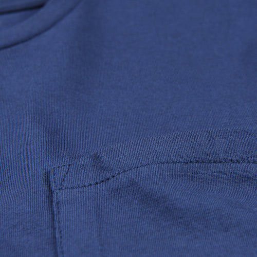 Crew Neck Tee with Pocket in Deep Blue