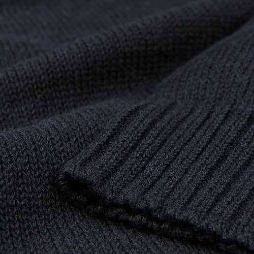 Oversized Crew Neck Pullover in Deep Black