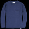 Merz B. Schwanen Good Basics - Relaxed Crew Neck Pullover with Pocket in Deep Blue