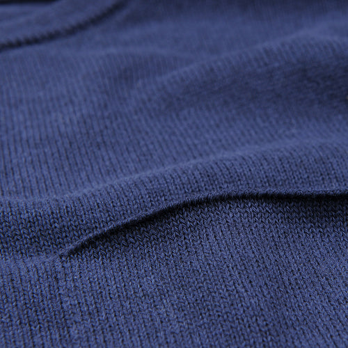 Relaxed Crew Neck Pullover with Pocket in Deep Blue