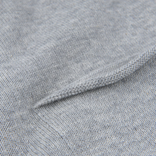 Relaxed Crew Neck Pullover with Pocket in Grey Melange