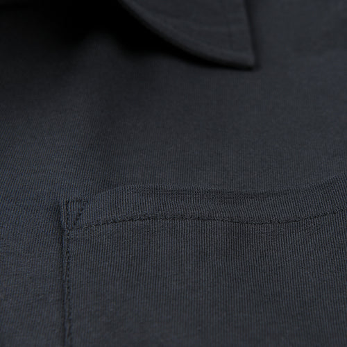 Polo Shirt with Pocket in Deep Black