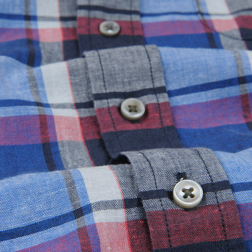 Cotton Linen Lightweight Plaid Shirt in Cobalt Blue