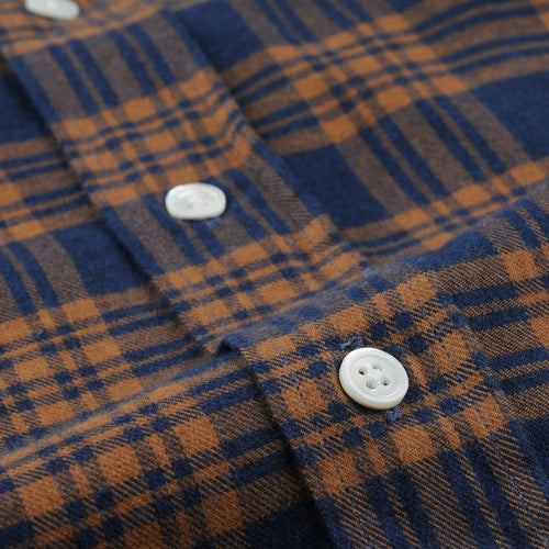 Paul Shirt in Camel on Blue Plaid
