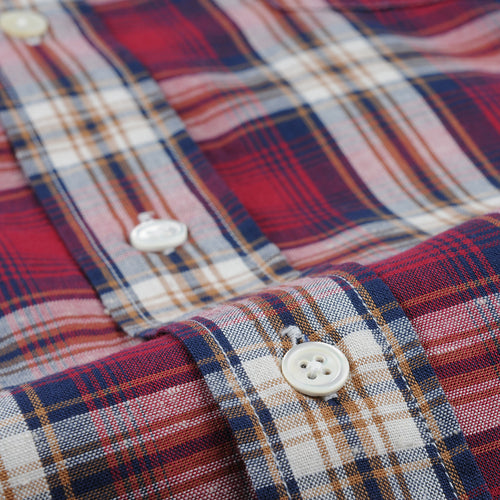 Paul Shirt in Red Navy Camel & Chalk Plaid