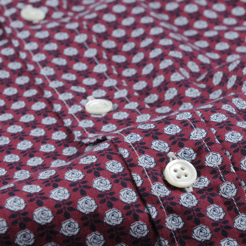 Paul Shirt in White Navy & Roses on Red