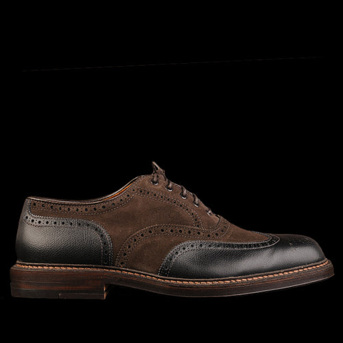 Campbell Two Tone Shortwing in Black Alpine and Dark Chocolate Suede D3301