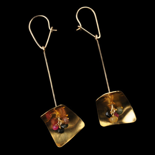 Lamp Earrings in Tourmaline & Brass