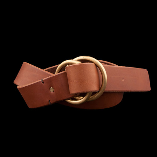 Double O-Ring with 1.25 inch Wide Belt in Brown
